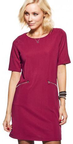 LikeLondon klänning röd med fickor o dragkedja aad86040a2253