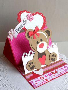 Imagen relacionada Fun Fold Cards, Pop Up Cards, Love Cards, Folded Cards, Tarjetas Stampin Up, Stampin Up Cards, Baby Kind, Valentine Crafts, Paper Cards