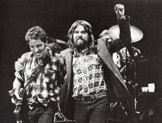 Bob Seger and Bruce Springsteen sharing the stage at the University of Michigan in 1980.