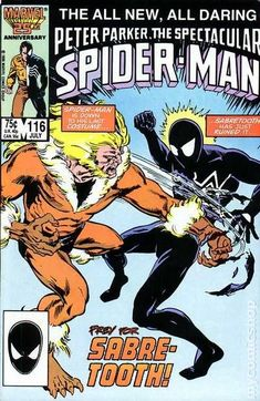 Spectacular Spider-Man (1976 1st Series) 116  Marvel Comics Peter Parker Comic book covers Super Heroes  Villians  Amazing Astonishing silver bronze modern age Sabertooth
