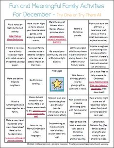 Fun and Meaningful December Activities Printable | hsclassroom.net