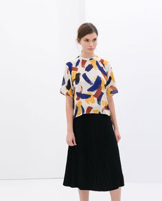 Image 1 of BLOUSE WITH SMALL BRUSH STROKES PRINT from Zara