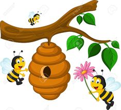 Bees cartoon holding flower and a beehive Vector Image Drawing Lessons For Kids, Art Drawings For Kids, Animal Drawings, Cartoon Cartoon, Bee Rocks, Bee Pictures, Bee Drawing, Bee Painting, Bee Images