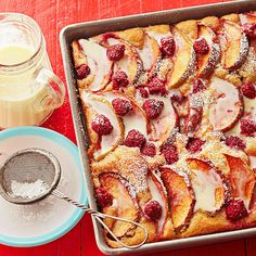 Raspberry-Apple Kuchen with Warm Cream Sauce Our delicious apple kuchen is a triple threat of warm and cozy goodness: Tart apples, cinnamon, and our homemade eggnog sauce make this one apple dessert you can't resist. Apple Dessert Recipes, Köstliche Desserts, Apple Recipes, Fall Recipes, Baking Recipes, Delicious Desserts, Yummy Food, Healthy Food, Best Coffee Cake Recipe