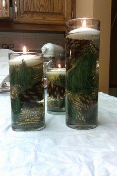 Winter Wedding Centerpiece :  wedding brown green ivory reception Evergreen