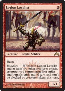 Magic: the Gathering - Legion Loyalist (97) - Gatecrash by Wizards of the Coast. $3.00. This is of Rare rarity.. A single individual card from the Magic: the Gathering (MTG) trading and collectible card game (TCG/CCG).. From the Gatecrash set.. Magic: the Gathering is a collectible card game created by Richard Garfield. In Magic, you play the role of a planeswalker who fights other planeswalkers for glory, knowledge, and conquest. Your deck of cards represents all the...