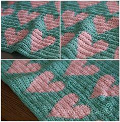 Pink Love - Tapestry - crochet - blankets - Mantas - hearts -
