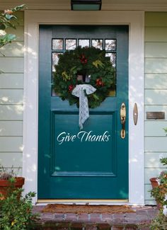 Items similar to Give Thanks Decal – Small Decal – Thanksgiving Decor – Front Door Decoration Vinyl Wall Decal on Etsy – Türmodelle Front Door Colors, Front Door Decor, Wreaths For Front Door, Front Doors, Thanksgiving Diy, Thanksgiving Decorations, Happy Hanukkah, Decks And Porches, Fall Halloween