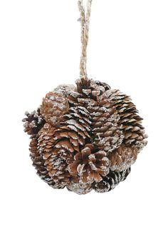 Delicate pine cones are shaped onto a ball to create this Christmas tree ornament. The natural pine cones are finished with an icy glitter to add to their wintry look.