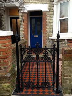 wrought iron gate and brick garden wall victorian mosaic tile path south west lo… Front Garden Path, Front Path, Brick Garden, Front Gardens, Garden Tiles, Small Gardens, Victorian Front Garden, Victorian Front Doors, Victorian Homes