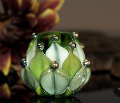 green water lily bead  handmade glass bead SRA von CorneliaLentze, $24,00