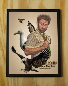 Charlie Kelly: Attorney at Bird Law - It's Always Sunny in Philadelphia - Color Pencil Portrait Poster Print by NerdPopPrints on Etsy https://www.etsy.com/listing/494482708/charlie-kelly-attorney-at-bird-law-its