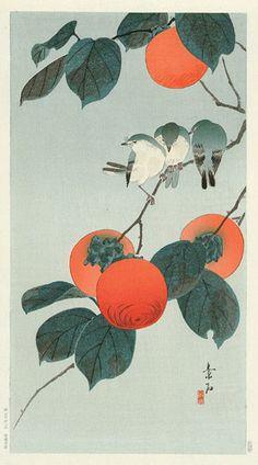 Birds on Persimmon  by Komori Soseki, 1929  (published by Kawaguchi & Sakai