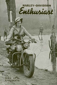 The Enthusiast Magazine often featured ladies on the cover, like this 1936 issue. #harleywomen