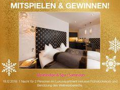 Win Today 1 night for 2 at Alpinlodge Samnaun, Switzerland Spa, 1st Night, Contemporary Design, Switzerland, Advent Calendar, Architecture, Night, Modern Design, Architecture Illustrations