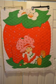 Vintage 1981 Strawberry Shortcake cotton quilt top by mailebaldwin