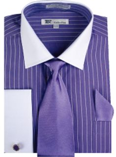 Men's stylish Striped Dress Shirt+Tie+PS French Cuff + Links Purple SG17