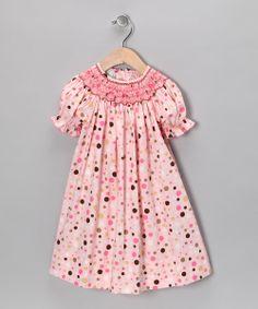 Pink & Brown Polka Dot Bishop Dress - Infant, Toddler & Girls