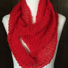 Primary Red Lightweight Hand Knit Infinity Scarf Wool Blend by starlightknits on Etsy