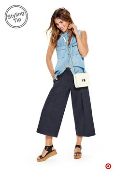 This summer, keep culottes with Who What Wear's indigo Ankle Crops, then top your perfect summer look with the chambray Sleeveless Button-Up and a dollop of cream with the Chain Strap Micro Bag. Now you're ready for days at the office, nights on the town and everything in between. Available 5/1, and the collection changes monthly. Only at Target.