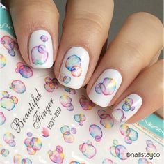 1 Sheet Colorful Bubble Blister Red Blue Nail Art Water Decals Transter Print Sticker