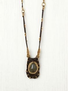 De Petra Leather Stone Pouch Pendant at Free People Clothing Boutique