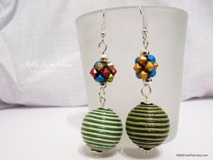 Excited to share the latest addition to my #etsy shop: Handmade earrings acrylic beads colourful red blue green yellow beige http://etsy.me/2ooUs5d
