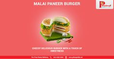 #Cheesy Delicious #Burger with a touch of sweetness! #Order #online from www.pitstopindia.net or call 044 4202 5999.