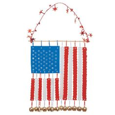 Stars and Stripes Chimes craft for older kids and adults.  Craft foam, a dowel, paper clips, and jingle bells.  Unique!
