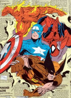 The Human Torch, Wolverine, Spider-Man and Captain America by Todd McFarlane