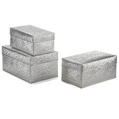 Hammered Aluminium Set of 3 Trunks