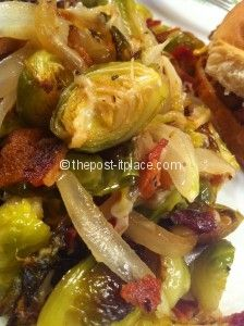 Roasted Brussels Sprouts with bacon, onions and parmesean