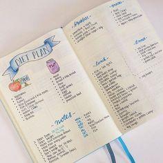 Diet Plan Spread health fitness bullet journal bujo