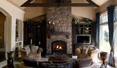 Stone Fireplace Designs for Better Fireplace: Blue Curtain TV Cabinet Living Room Stone Fireplace Stone Wall ~ 8stream.com Home Design Inspiration