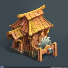 the working process Game Environment, Environment Concept Art, Environment Design, Building Concept, Building Art, Building Games, Game Ui Design, Prop Design, Low Poly