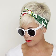 Tied Up In My Hair - Chic Over 50 And here's that cute little neck scarf, all tied up in my hair! Bandana Hairstyles Short, Headbands For Short Hair, Pigtail Hairstyles, Bobby Pin Hairstyles, Headband Hairstyles, Pretty Hairstyles, Short Hair Cuts, Short Hair Styles, Chic Over 50