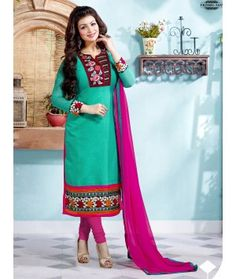 Mehendi Colour Embroidery Net & Satin Semi Stitched Anarkali Salwar Suit