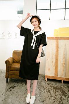 C小小海军风绑带宽松圆领短袖大码中长款韩国连衣裙-淘宝网