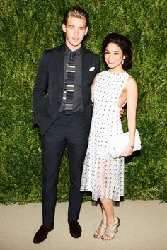 Austin Butler and Vanessa Hudgens, in Thakoon, with Irene Neuwirth jewels and Tabitha Simmons shoes.