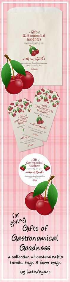 Gifts of Gastronomical Goodness food gift and thank you tags, labels and favor bags from katzdzynes | select from various themes, including red ripe cherries, Valentine hearts and Christmas/Holiday plaids | see the collection ... only at Zazzle | www.zazzle.com/katz_d_zynes