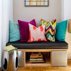 Custom bench #interiors #interiordesign #color #bold #blackdenim #kirodesign #robertallen #fabric