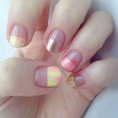color blocking nails No.260 <aaasanooo>