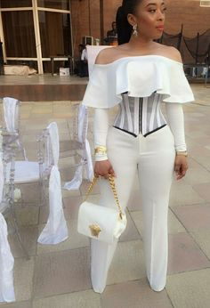 Stylish All White Party Outfits Ideas All White Party Outfits, White Outfits For Women, All White Outfit, Classy Outfits, Cool Outfits, Clothes For Women, African Wear, African Dress, Dress Outfits