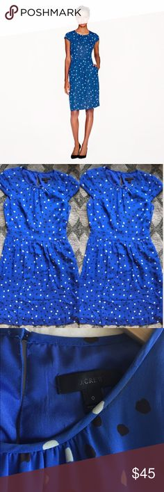 J.Crew Polka Dot Dress Beautiful blue polka dot dress! It has cap sleeves, a side seam zipper, and seam pockets. The waist is defined with a slim A-line skirt. 100% silk with some minor staining around neckline (not noticeable when worn). J. Crew Dresses