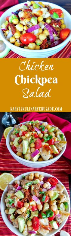Chicken Chickpea Salad is a delicious combination of heartychickpeas, grilled chicken, silky avocados and veggies. Finish with a drizzle of luxurious high-quality balsamic vinegar for a lunch your whole family will love
