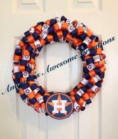 Houston Astros Baseball Ribbon Wreath
