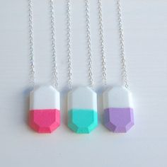 GEMSTONE 3d printed necklace // acrylic dipped by LanaBetty, $48.00