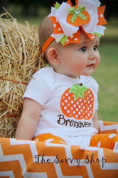"""Complete Pumpkin Outfit by TheSavvyLady on Etsy. this is perfect for pumpkin patches, fall festivals, halloween, and thanksgiving! My Little Girl, My Baby Girl, Our Baby, Little Princess, Little Babies, Little Ones, Cute Babies, Pumpkin Outfit, Cute Pumpkin"