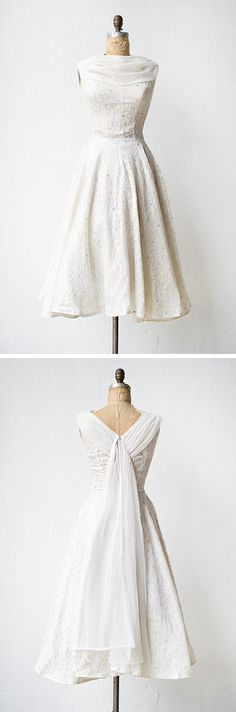 vintage 1950s wedding dress metallic lace thread | Illuminated Love Dress