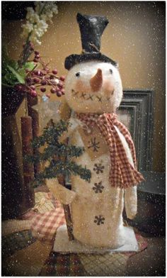 Primitive Handmade*Jack the Snowman Doll`Carrot Nose`Christmas with Snowflakes` #NaivePrimitive #KarenfromJosiesAttic